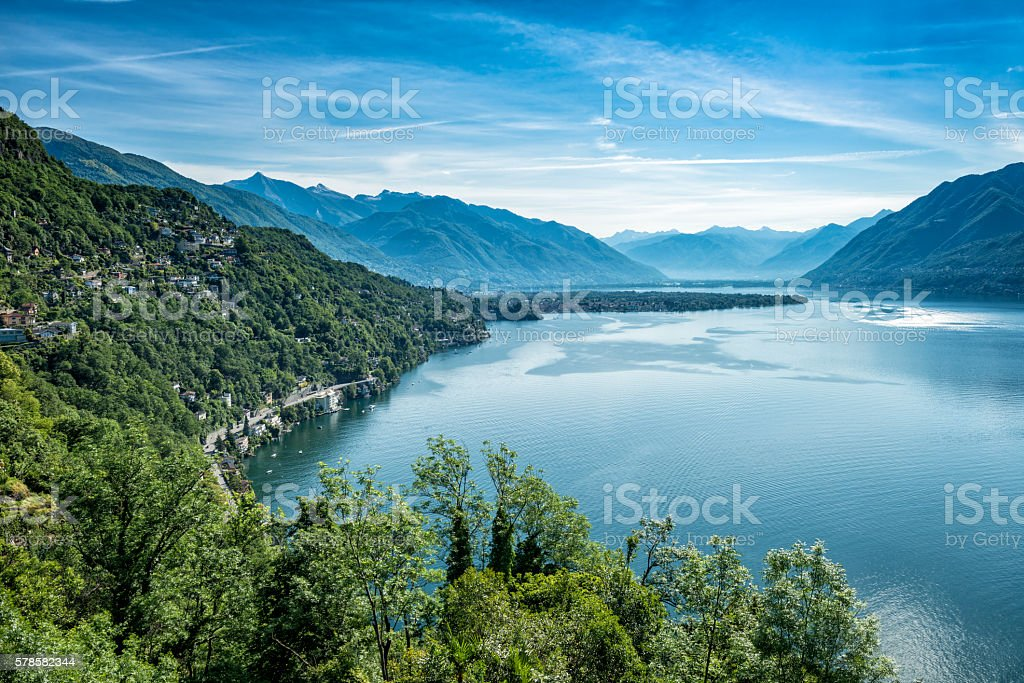 beautiful lake Lago Maggiore between Switzerland and Italy stock photo