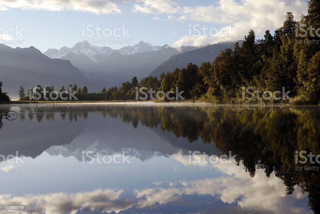 Beautiful Lake Matheson at sunrise stock photo