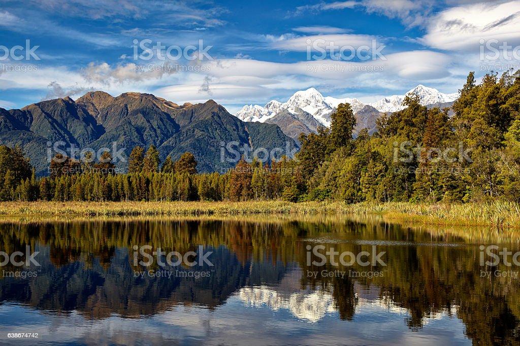 Beautiful Lake Matheson On New Zealand's South Island stock photo