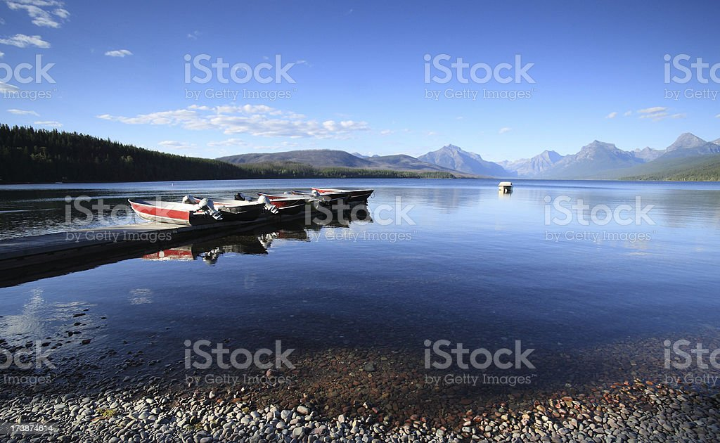 Beautiful Lake Mc Donald in Glacier National Park royalty-free stock photo