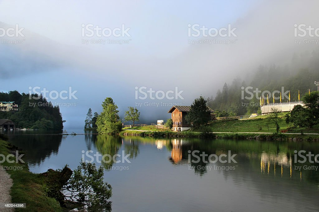 Beautiful lake, mountains and nature in the morning stock photo