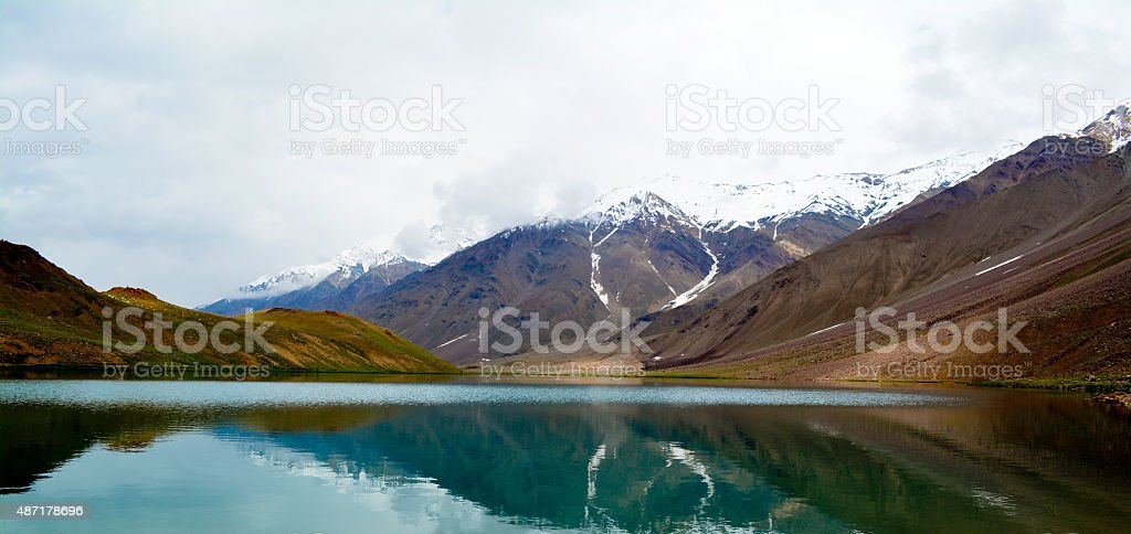 Beautiful lake set in the mountains. stock photo