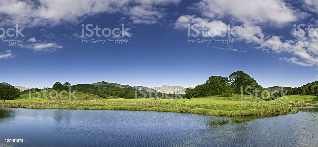Beautiful lake shore tranquil mountain vista stock photo