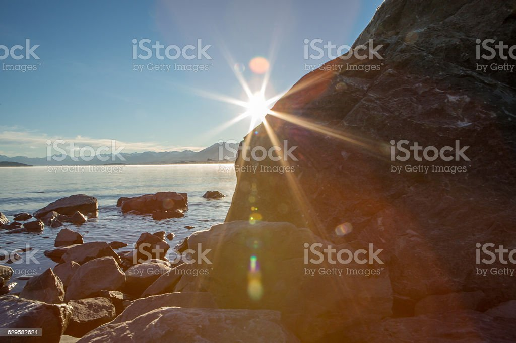 Beautiful lake Tekapo at sunrise, New Zealand stock photo