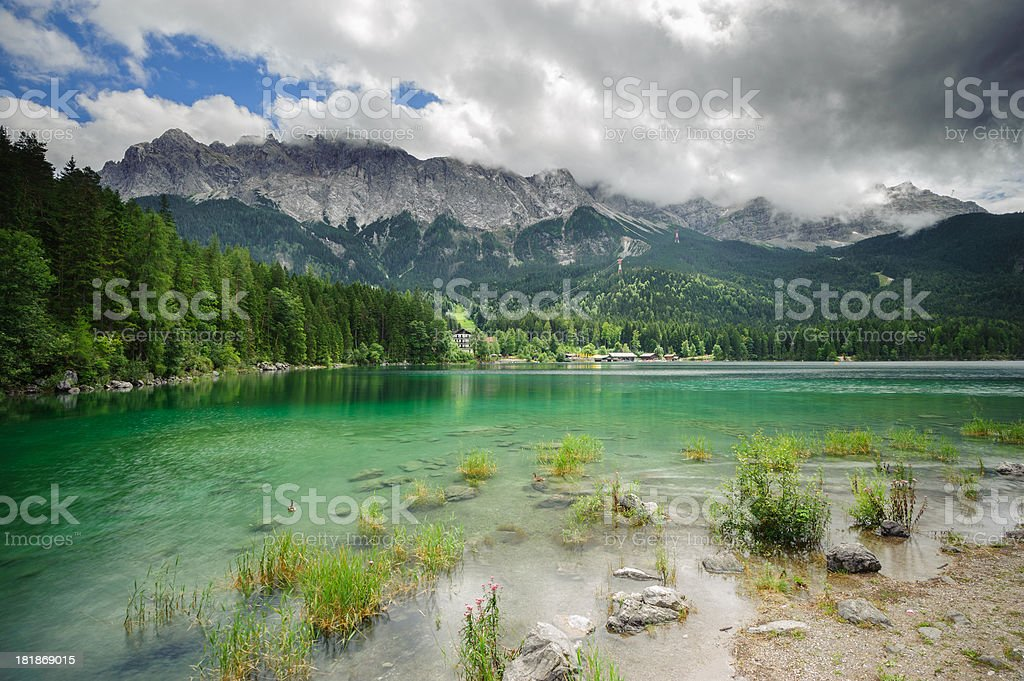 Beautiful Lake View to Eibsee and Zugspitze stock photo