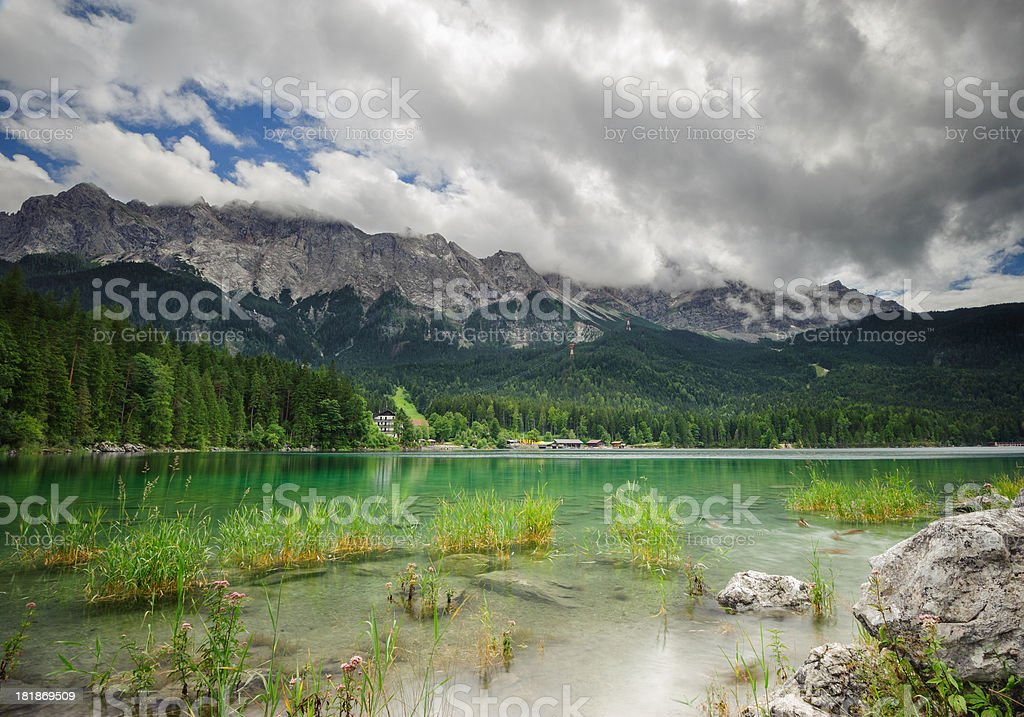 Beautiful Lake View to Eibsee and Zugspitze royalty-free stock photo