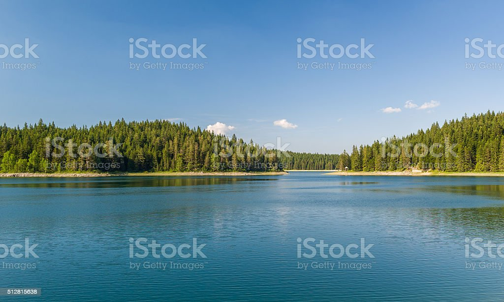 Beautiful lake with islands covered by thick coniferous forests stock photo