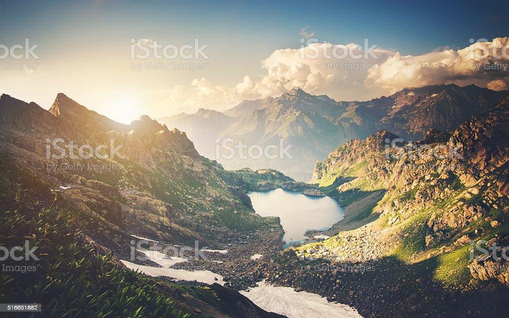 Beautiful Lake with Rocky Mountains Landscape stock photo