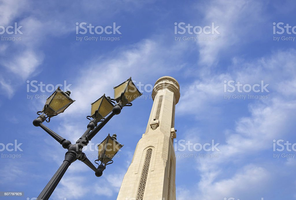 beautiful lamp post & minaret of Al Fateh Mosque Bahrain stock photo