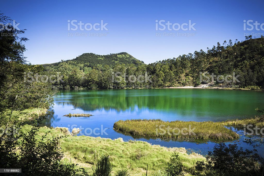 Beautiful Landscape and Green Lake in Java stock photo