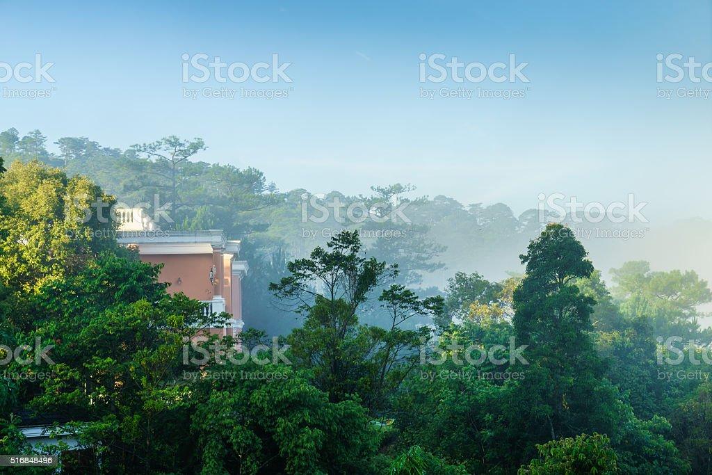 Beautiful landscape at Dalat village, a villas beside the lake stock photo