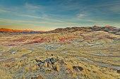 Beautiful landscape. Colorful hills. The unusual landscape. Multi-colored layers