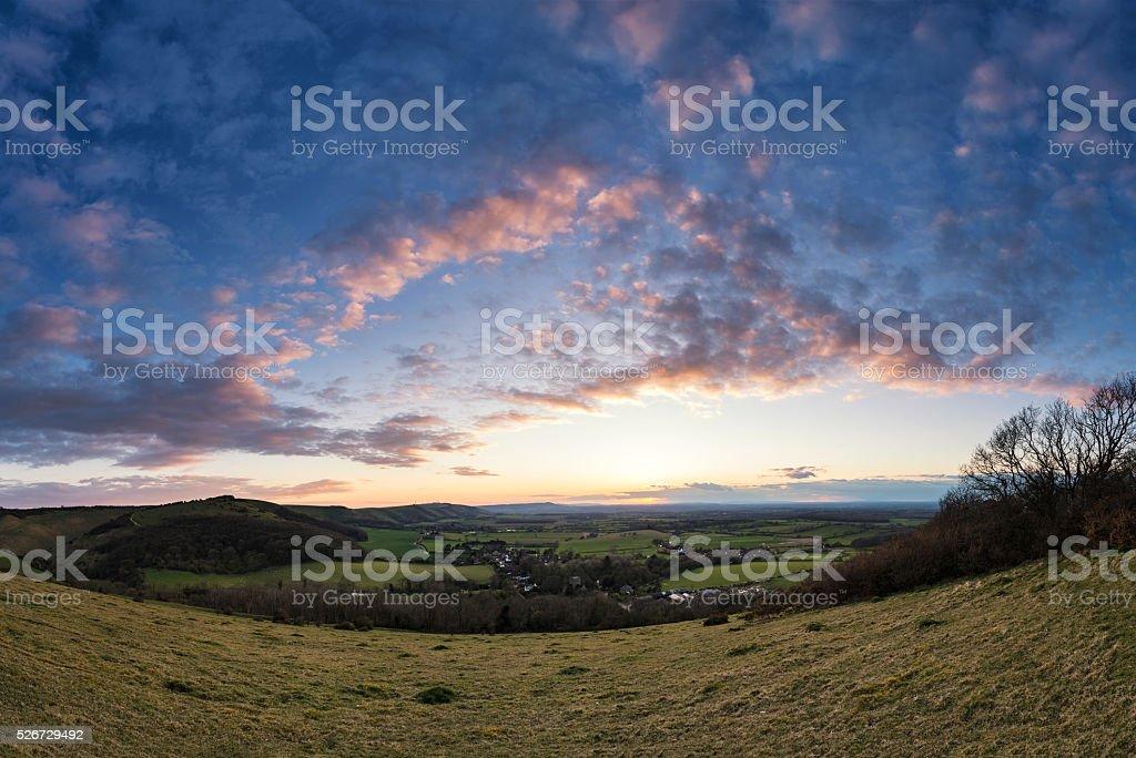 Beautiful landscape image of sunset over countryside landscape i stock photo