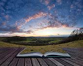 Beautiful landscape image of sunset over countryside landscape i