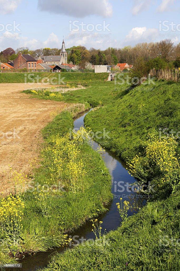 Beautiful landscape in Belgium, Sint-Truiden, Bevingen stock photo