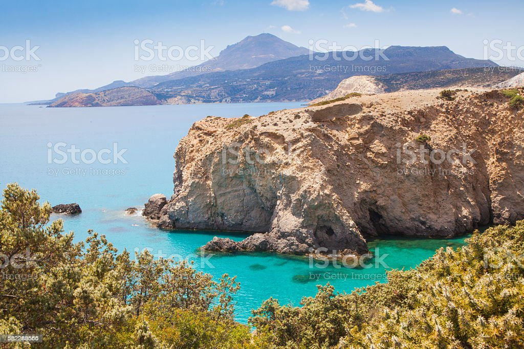 Beautiful landscape in Milos, Greece stock photo