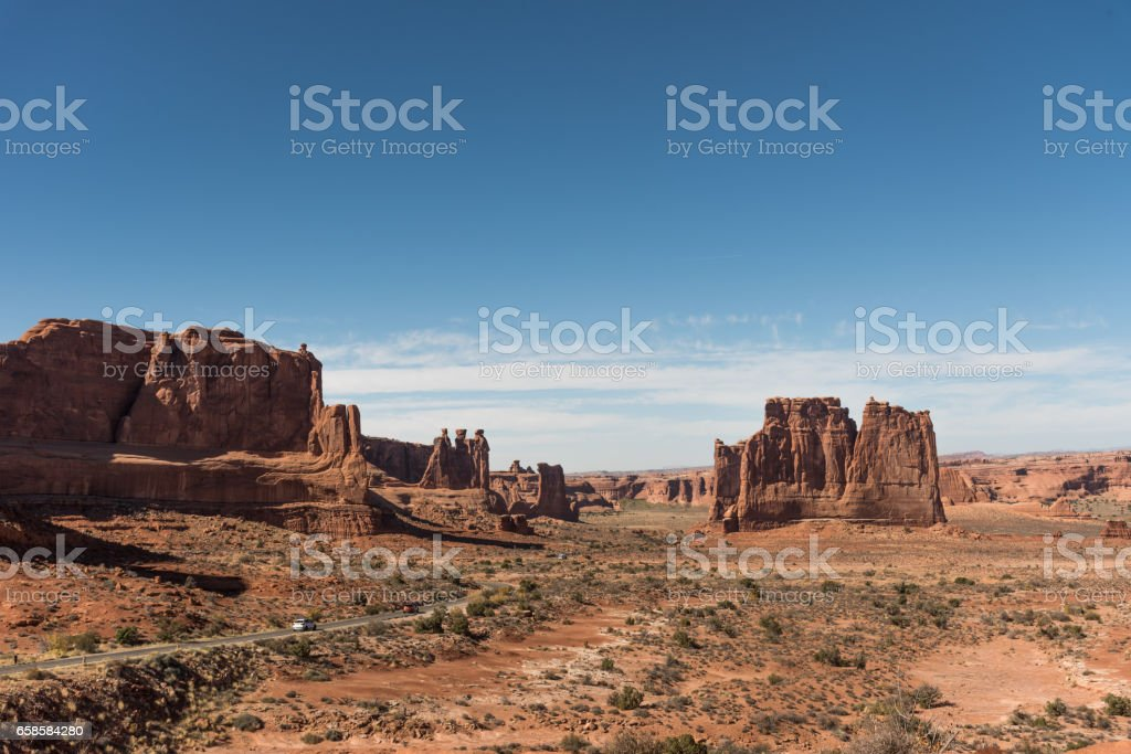 Beautiful landscape made of red rocks.Arches National Park, Utah, USA. stock photo