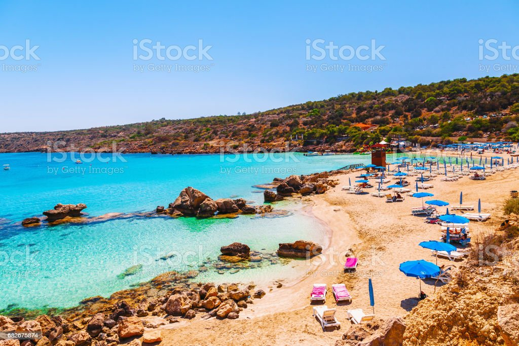 Beautiful landscape near of Nissi beach and Cavo Greco in Ayia Napa, Cyprus island, Mediterranean Sea. Amazing blue green sea and sunny day. stock photo