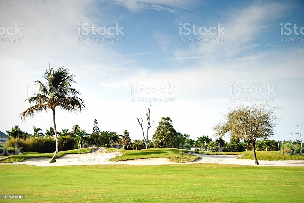 Beautiful landscape of a golf course stock photo