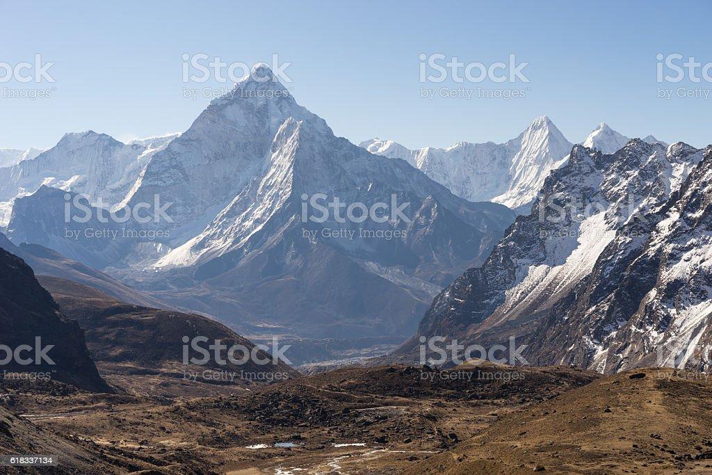 Beautiful landscape of Ama Dablam mountain peak, Everest region stock photo