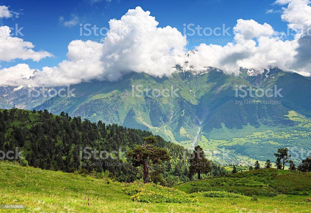 Beautiful landscape of Caucasus mountains stock photo