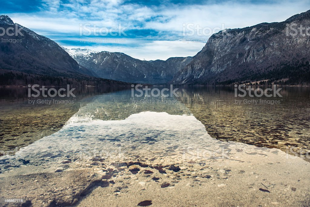 Beautiful Landscape of clear lake in the mountains stock photo