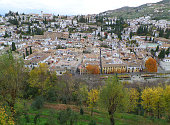 Beautiful landscape of Granada in the warm colors of autumn