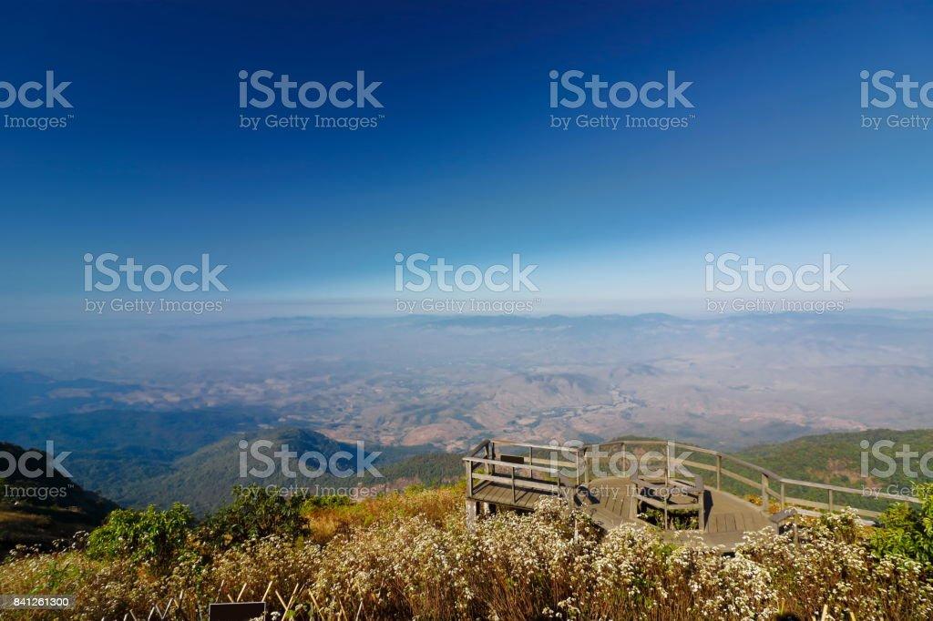 Beautiful landscape of Kew Mae Pan viewpoint at Doi Inthanon nature park , Chiang Mai , Thailand stock photo