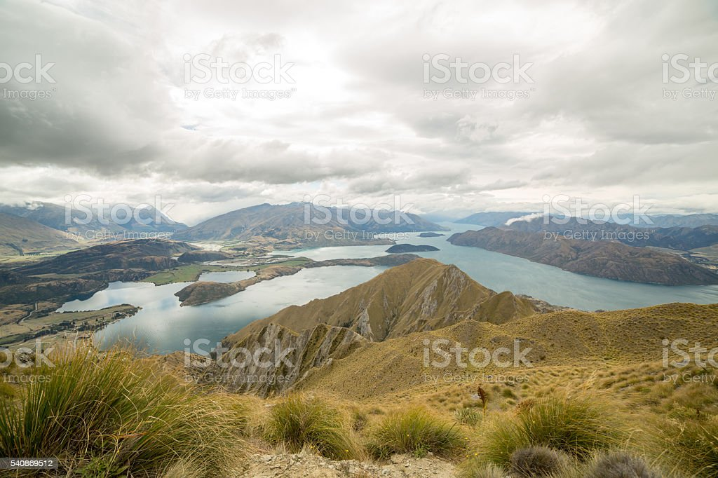 Beautiful landscape of lake Wanaka and mountain range stock photo