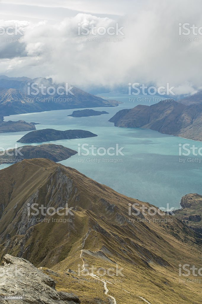 Beautiful landscape of lake Wanaka and the mountain range stock photo