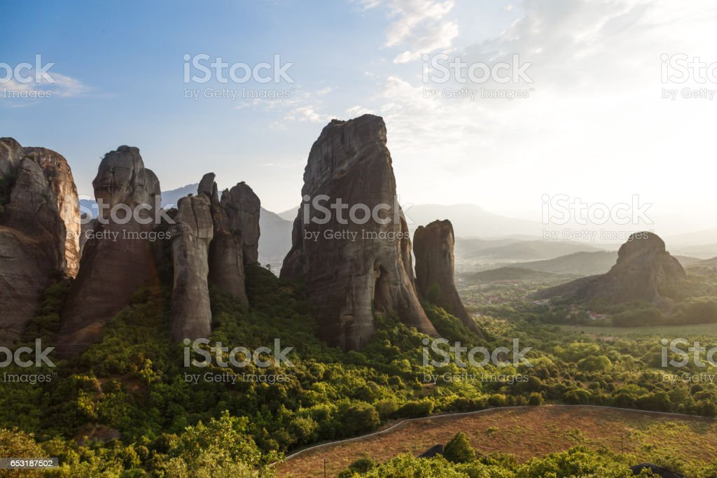 Beautiful landscape of Meteora rocks at sunrise, Greece stock photo