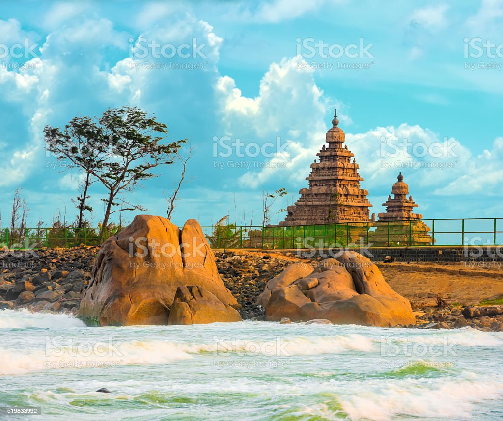 beautiful landscape of monolithic famous Shore Temple stock photo
