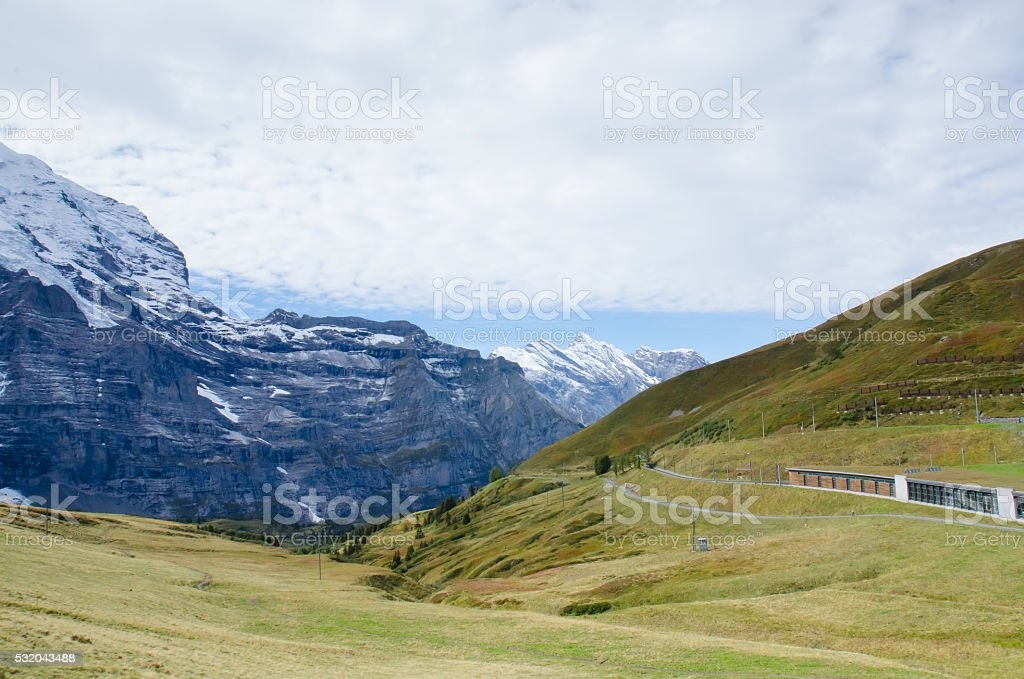Beautiful Landscape of Mountain in early autumn,  Switzerland stock photo