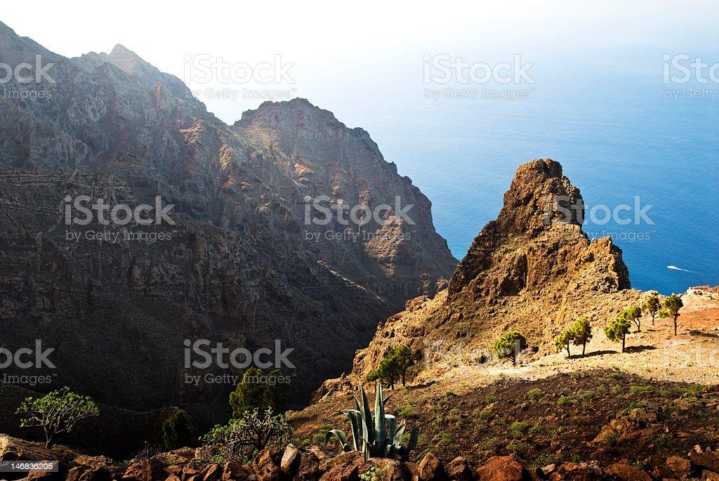 Beautiful landscape of mountain La Gomera and sea stock photo