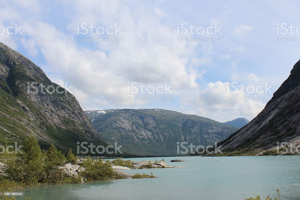 Beautiful landscape of Norway. Mountains and lake. stock photo