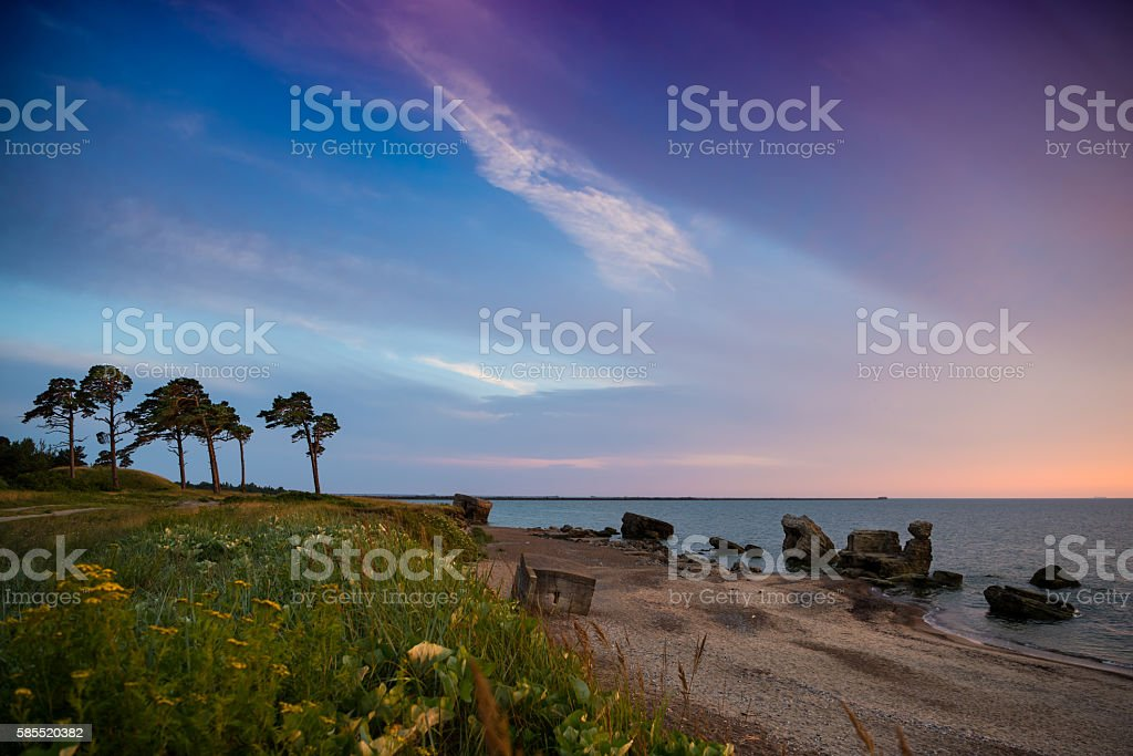 Beautiful landscape of remains of the Northern forts stock photo