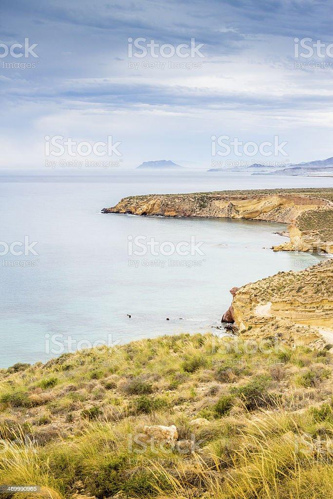 Beautiful landscape of sea and land stock photo