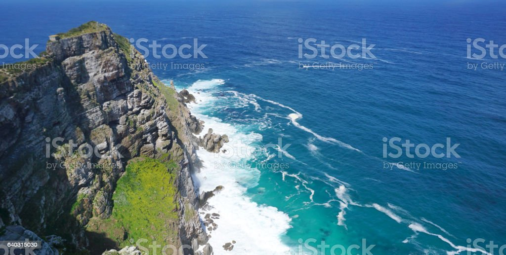 beautiful landscape of the coast at Capepoint in Cape town stock photo