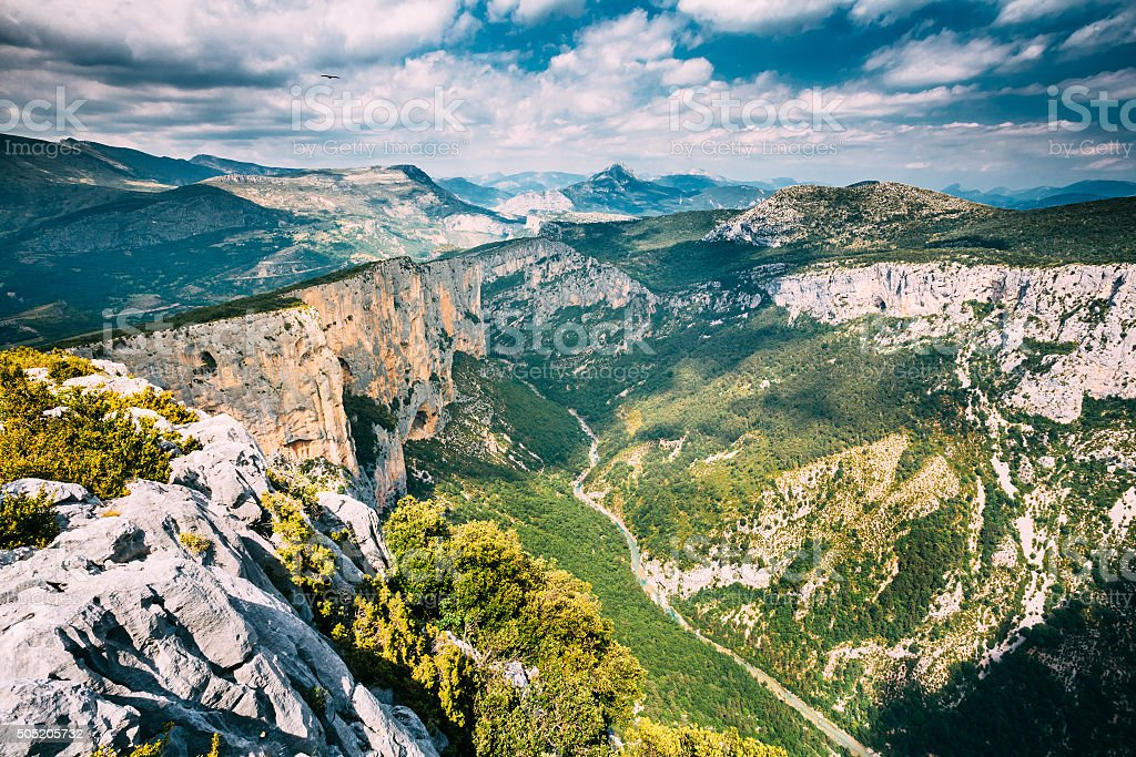 Beautiful landscape of the Gorges Du Verdon in France stock photo