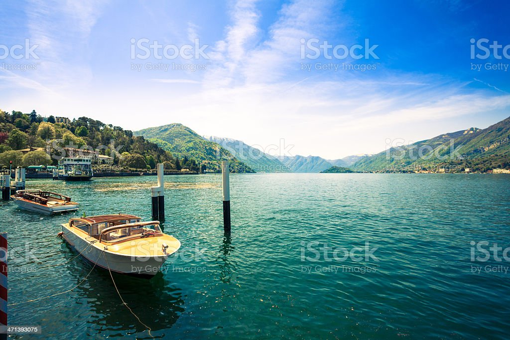 Beautiful Landscape on Como Lake and Boats, Italy stock photo