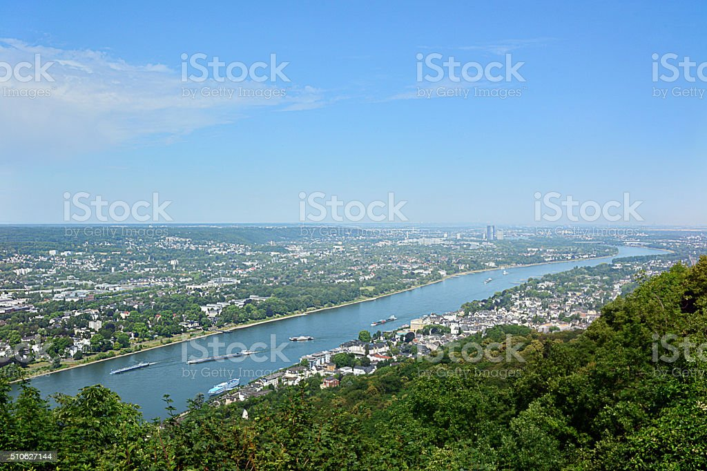 beautiful landscape on the river Rhine stock photo