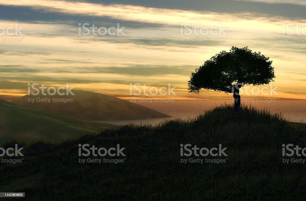 beautiful landscape vector art illustration