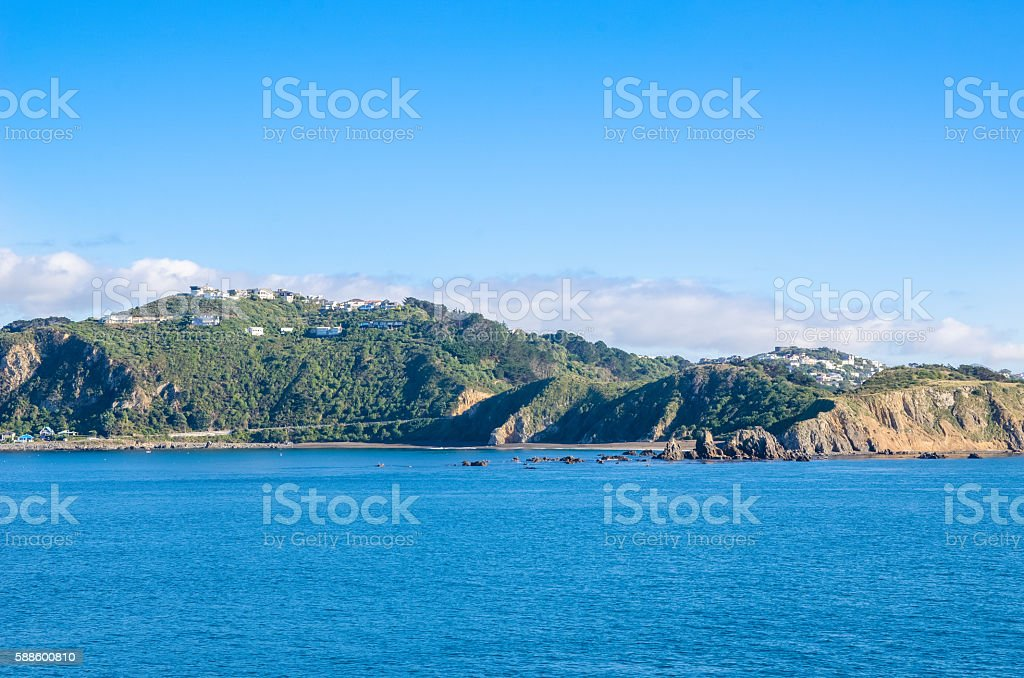 Beautiful landscape view from the Interisander's Cook Strait ferry stock photo