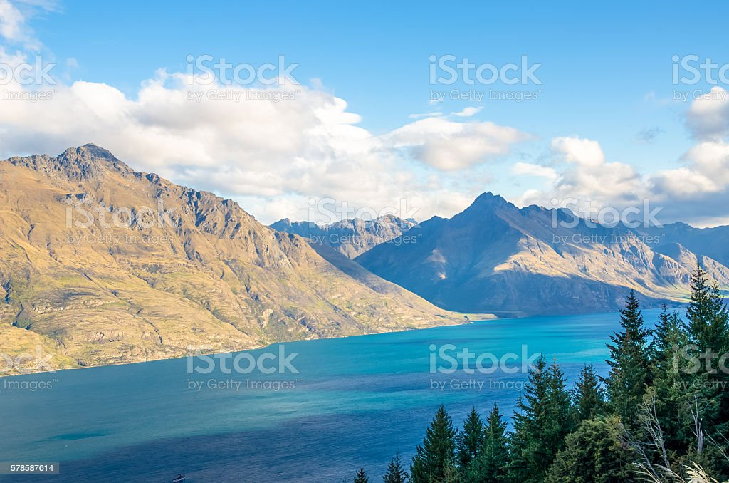 Beautiful landscape view from the Queenstown Skyline, New Zealand stock photo