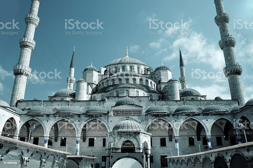 Beautiful landscape view of Blue Mosque in Istanbul stock photo