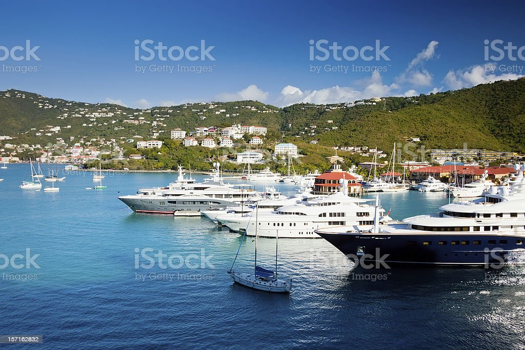 Beautiful landscape view of boats in St. Thomas stock photo