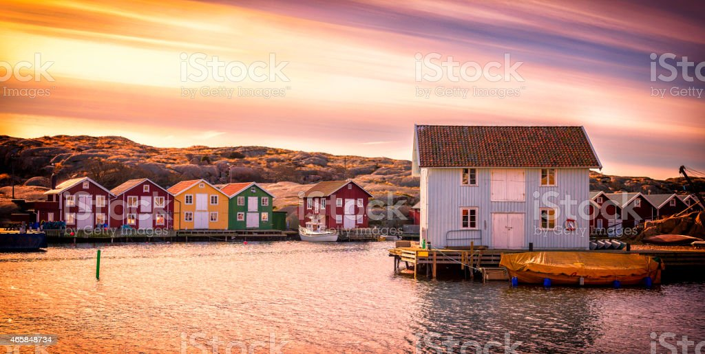 Beautiful landscape view of sunset and houses at Smogen stock photo
