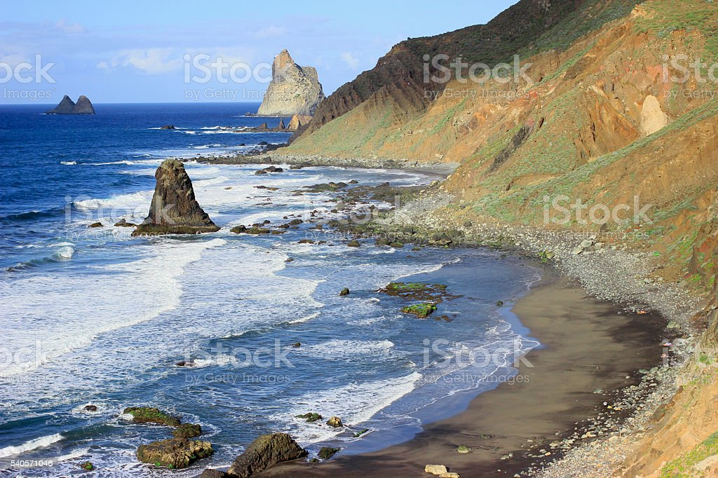 Beautiful landscape view of the Atlantic ocean and beach with stock photo