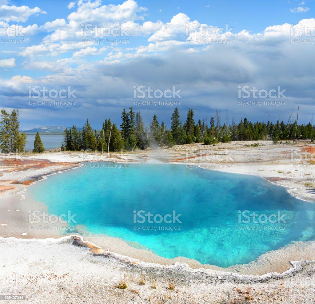 Beautiful landscape, West Thumb Geyser Basin. stock photo