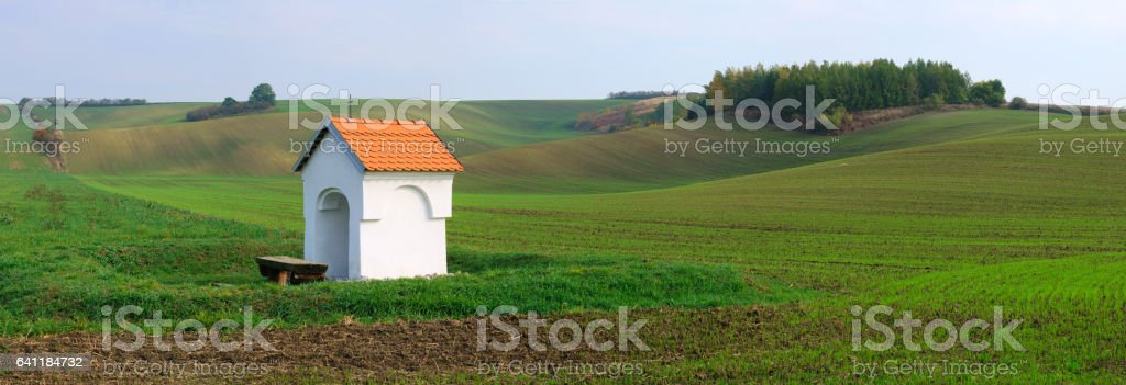 Beautiful landscape with a chapel. stock photo